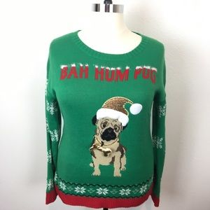 """holiday Traditions """"Bah Hum Pug"""" Green Red Sweater"""